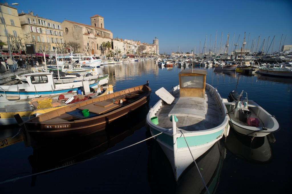 Boats and old buildings under blue sky in the old port of La Ciotat, Provence, France. Sony A7r & Leica Elmarit-R 19mm f/2.8